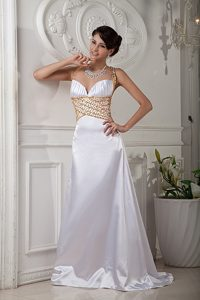 Elegant White Straps Evening Wear Dress with Beads and Criss Cross on Back