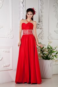 Red Beading Classy Evening Dresses with Sweetheart for Spring