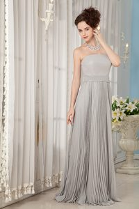 Cheap Strapless Long Chiffon Evening Dress with Pleats in Gray on Sale
