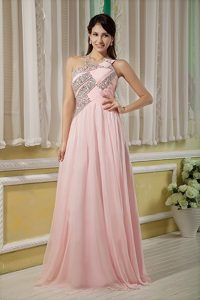 Baby Pink Beaded Evening Dress Pattern with Asymmetrical Neckline