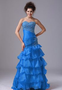 Sexy Aqua Blue Mermaid Party Prom Dress in Organza with Beading and Ruffled Layers