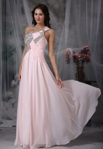 Baby Pink Empire One Shoulder Long Chiffon Prom Dress with Shining Beading