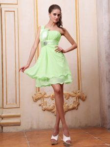 Yellow Green One Shoulder Prom Homecoming Dress with Beading for Cheap