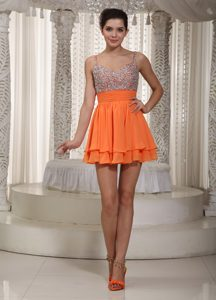 Orange A-line Spaghetti Straps Mini-length Chiffon Prom Dress with Beading for Cheap