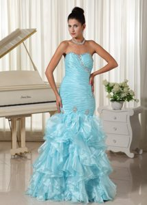 Special Mermaid Baby Blue Beaded Prom Formal Dress in Organza with Ruffled Layers