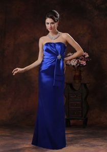 Royal Blue Mermaid Strapless Long Prom Celebrity Dress with Beading