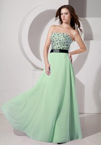 Luxurious Light Green Strapless Prom Holiday Dress with Beading for Cheap
