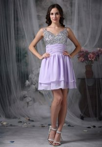 Customize Lilac Empire Short Chiffon Prom Homecoming Dresses with Beading for Less