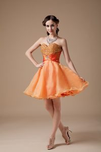 Cheap A-line Sweetheart Mini Prom Graduation Dress in Organza with Beading for Girls