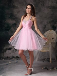 Customize Pink Straps Short Prom Dress with Beading Made on Sale