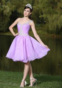 Lavender Knee-length Prom Cocktail Dress in Organza with Beading with One Shoulder