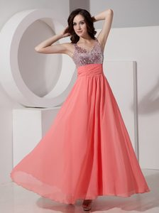 New Style Watermelon Empire Ankle-length Prom Party Dress with Beading