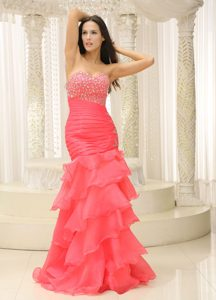 Brand New Mermaid Sweetheart Beaded Prom Cocktail Dress in Organza with Ruffles
