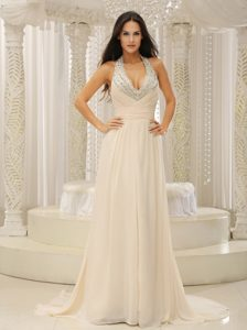 New Beaded Halter Top V-neck Beautiful Prom Holiday Dresses with Ruching