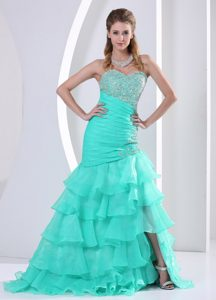 Aqua Blue Ruched and Beaded Prom Celebrity Dresses in Organza with Ruffles on Sale