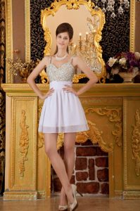 Lovely A-line Straps Mini-length White Prom Cocktail Dresses with Beading