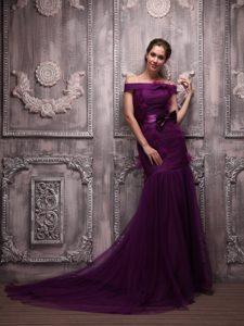 Mermaid Off The Shoulder Tulle Prom Dress in Dark Purple