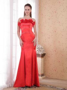 Red Mermaid Strapless Satin Best Dress for Prom for Cheap