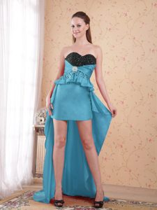 Teal and Black Sweetheart High-low Best Cocktail Dress for Prom in for Cheap