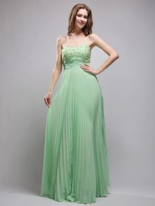 Brand New Apple Green Pleated Long Dress for Prom with Beading