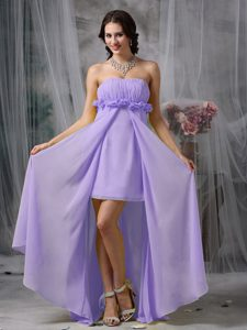 Lovely Lilac High-low Prom Holiday Dress with Ruching for Cheap