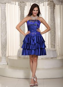 Strapless Mini-length Royal Blue Prom Cocktail Dresses with Beading and Layers