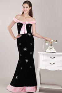 off-the-shoulder Long Mermaid Black Beaded Prom Dress for Christmas