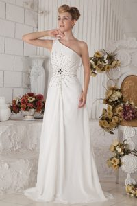 White One Shoulder Brush Train Chiffon Prom Dress for Women with Beading
