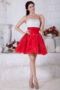 White and Red Strapless Mini-length Organza Prom Dress for Girls with Beading