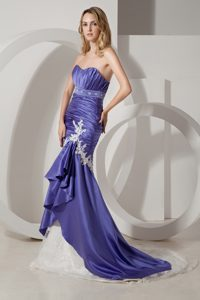 Purple Mermaid Strapless Brush Train Ruched Prom Party Dress with Appliques
