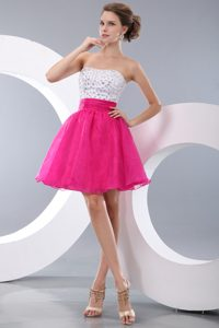 Hot Pink Strapless Mini-length Organza Prom Homecoming Dress with Beading