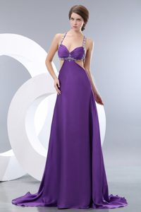 Purple Straps Brush Train Ruched Beaded Prom Celebrity Dresses with Cutouts