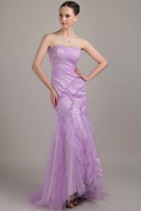 Lavender Mermaid Strapless Brush Train Ruched Tulle Prom Homecoming Dress