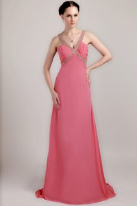 Watermelon V-neck Brush Train Ruched Beaded Chiffon Prom Dress for Party