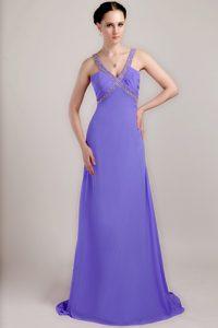 V-neck Brush Train Ruched Purple Chiffon Prom Evening Dresses with Beading