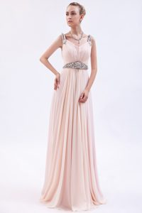 Pretty Baby Pink Straps Long Ruched Chiffon Prom Dress with Beading