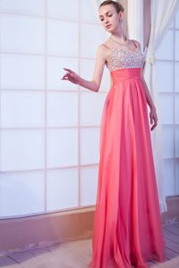 Straps Long Watermelon Chiffon Prom Dress with Beading on Promotion
