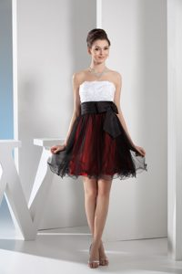Strapless Mini-length Multi-colored Tulle Prom Dress with Bow and Appliques