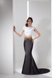 Scoop Short Sleeves Brush Train Black and White Mermaid Beaded Prom Dress