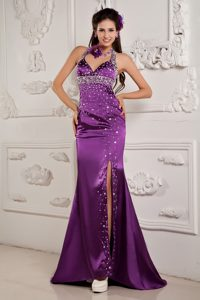 Halter Brush Train Mermaid Purple Prom Celebrity Dress with Beading and Slit