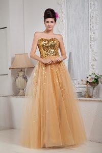 Gold Sweetheart Long Princess Sequin Tulle Prom Homecoming Dresses