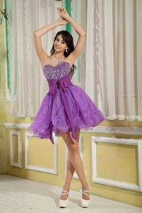 Purple Sweetheart Mini-length Organza Prom Dresses for Juniors with Beading