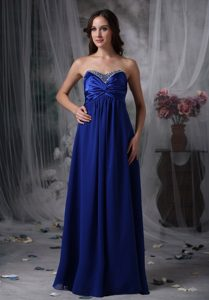 Royal Blue Sweetheart Long Ruched Beaded Prom Dress for Anniversary
