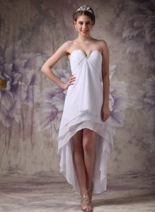 Slot Neckline Layered High-low Ruched White Chiffon Beaded Prom Party Dress