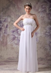 White Strapless Long Ruched Chiffon Prom Party Dress with Appliques