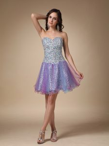 Cheap Multi-colored Sweetheart Mini-length Prom Cocktail Dress with Beading
