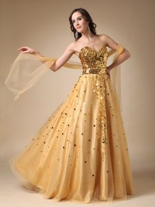 Gold Sweetheart Long Sequin and Tulle Prom Celebrity Dress with Shawl