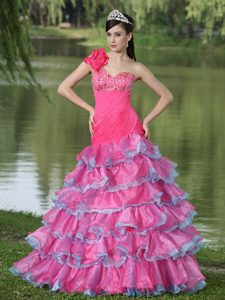 Pretty One Shoulder Multi-colored Beaded Prom Dress with Ruffles and Flower