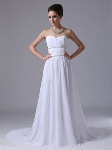 Ruched Sweetheart Court Train Chiffon Garden Wedding Dresses with Beading