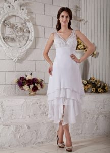 Straps V Neck Tea Length Layered Chiffon Dress For Wedding With Appliques